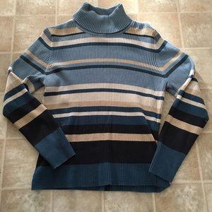 Blue striped ladies sweater XL